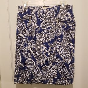 Michael Kors Blue Paisley Pencil Skirt